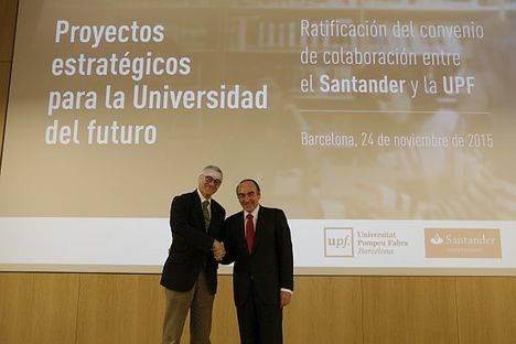 Becas, emprendimiento y formación, bases de la colaboración entre la Universidad PompeuFabra y Banco Santander