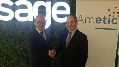 De izqda. a dcha.: Luis Pardo, Vicepresidente ejecutivo de Sage Iberia y Pedro Mier, presidente de AMETIC.