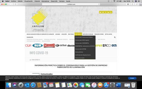 Anfalum incorpora un nuevo espacio web dedicado al Covid-19 para informar a la industria de la iluminación