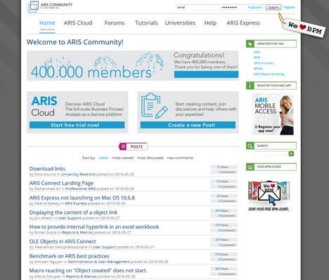 La Comunidad ARIS de Software AG supera la cifra de 400 000 miembros