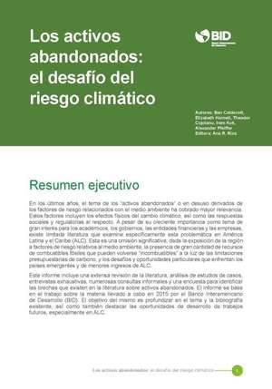 El BID publica un influyente informe sobre riesgo climático y los activos abandonados