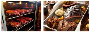 A la izquierda, la carne en pleno proceso de cocción en una de las barbacoas del restaurante; a la derecha, la carne ya lista y presentada al cliente.