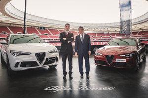 Los jugadores del Atlético de Madrid con Alfa Romeo