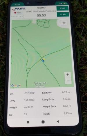 Aplicación POSSUM para smartphone ejecutándose en tiempo real en un Xiaomi Mi 8.