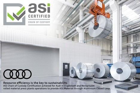 Audi recibe el certificado de Cadena de Custodia de la Aluminium Stewardship Initiative