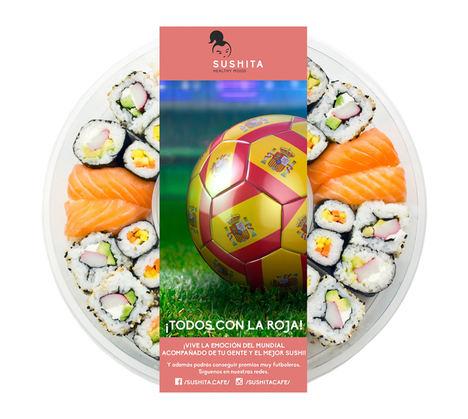 Sushita se prepara para el Mundial de Fútbol con una bandeja de sushi con forma de balón