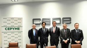 De izda. a dcha: Max Gosch, Rodrigo Madrazo, Antonio Garamendi, Valentín Pich y Carlos Puig de Travy.