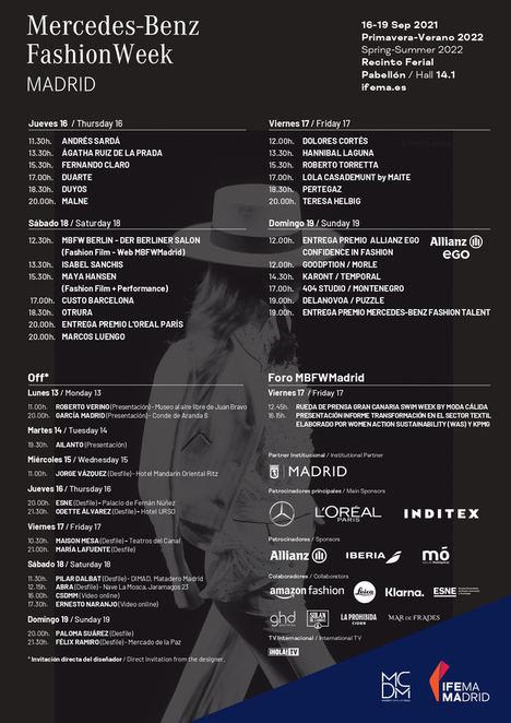 MBFWMadrid presenta el calendario oficial de su 74ª edición
