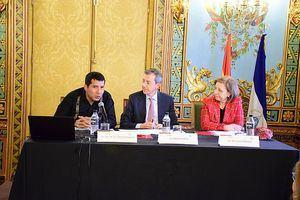 El Embajador de Nicaragua, Carlos Midence, el Director Gerente de la Cámara de Comercio de Madrd, Carlos Prieto, y la Secretaria de Estado de Comercio de España, María Luisa Poncela.