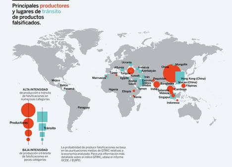 Cartografía de las rutas internacionales del comercio mundial de productos falsificados