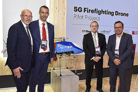 Cellnex, SITEP, Grupo MASMOVIL y 5G Barcelona presentan un dron contra incendios con tecnología 5G