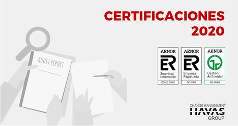 Havas Group renueva sus certificaciones de calidad, seguridad de la información y medioambiente