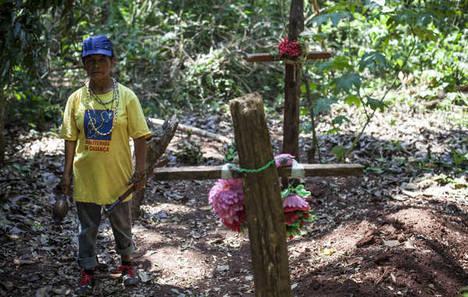 Damiana Cavanha, lideresa de la comunidad Apy Ka'y, ha presenciado la muerte de tres de sus hijos y de su marido. Ella está planificando decididamente la reocupación de su tierra ancestral donde todos ellos se encuentran enterrados.