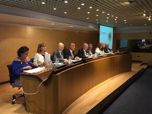 De izqda a dcha: De Aguilar, Villegas, Marín, De la Torre, Romera, Bisbal, Ribeiro, Pingarrón. Comité Organizador Transfiere.