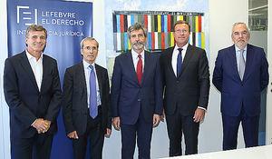 De izqda a dcha: José Ángel Sandín, Yves Saint-Geours, Carlos Lesmes, Olivier Campenon y Juan Pujol.