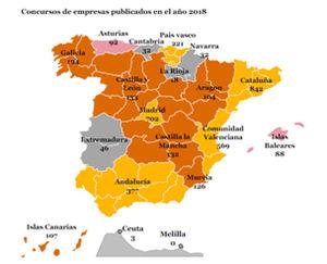 Distribución geográfica de los concursos de empresas publicados en el año 2018.