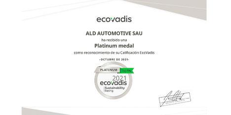 ALD Automotive consigue, por segundo año consecutivo, la certificación ECOVADIS PLATINUM