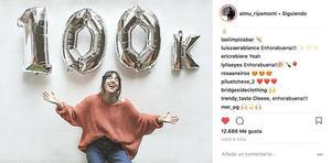 """El post de Instagram de la """"falsa influencer"""" @almu_ripamonti en el que celebra que ha alcanzado los 100 mil seguidores. Todos fueron comprados por H2H, al igual que los comentarios y los likes."""