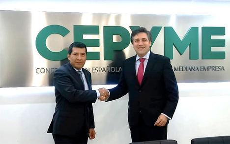 El Embajador de Nicaragua en España, D. Carlos Midence y el Secretario General de CEPYME, Pedro Fernández Alén.