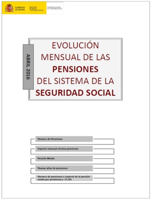 """Descargue el informe """"Evolución mensual de las pensiones del sistema de la Seguridad Social - Abril 2016"""""""