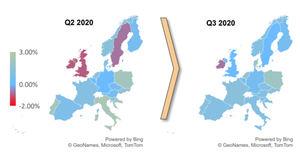 Mapa del calentamiento del precio de la vivienda en Europa (crecimiento trimestral frente a la media de 10 años).