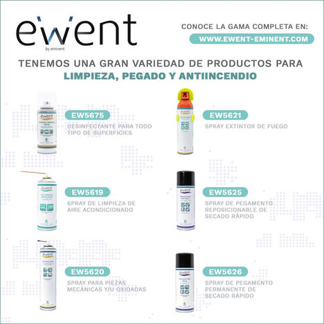 Ewent cuenta con una gran variedad de productos para limpieza, pegado y antiincendios