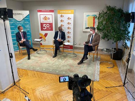 Zenón Vázquez, director general de ELKARGI, José Carlos García de Quevedo, Presidente del ICO, y Urko Odriozola, Director Corporativo y Relaciones Institucionales.