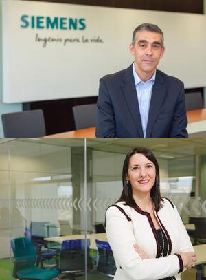 Fernando Silva, director de Siemens Smart Infrastructure para España y Portugal y Elena Gil. Directora Global de Producto y Operaciones de Negocio de IoT & Big Data de Telefónica Tech.