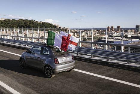 El Fiat 500 cruza el nuevo viaducto San Giorgio de Génova