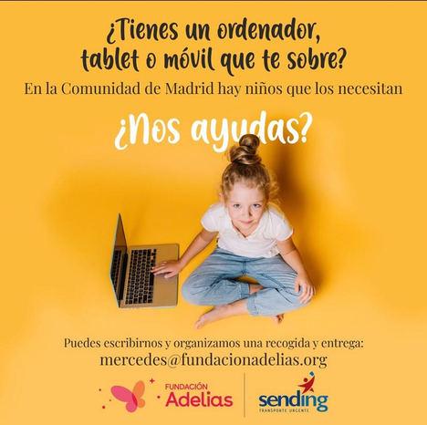 Fundación Adelias apoya a las familias que carecen de equipos informáticos para que sus hijos asistan a clases online