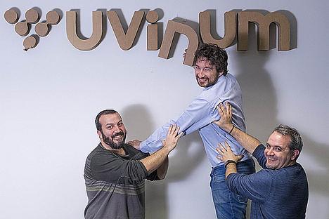 Fundadores de Uvinum, Albert López, Albert García y  Nico Bour.