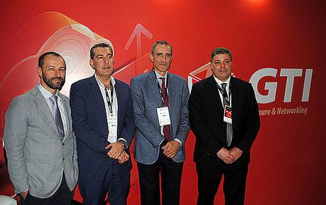 De izda. a dcha.: Daniel Laguna, CIO & CXO, Head of Customer Experience en GTI Software & Networking / Hugo Fernandez, CEO de GTI / Juan Pablo Rossi, Presidente de GTI / Paulo Rodrigues, Country Manager at GTI Software & Networking SA Portugal.