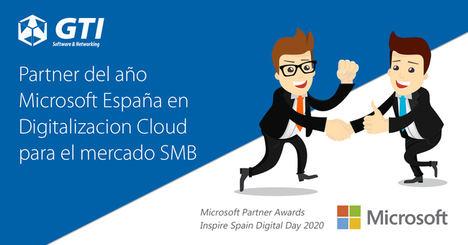 GTI ha recibido el premio al Partner del año en Digitalización Cloud para el mercado SMB de la mano de Microsoft