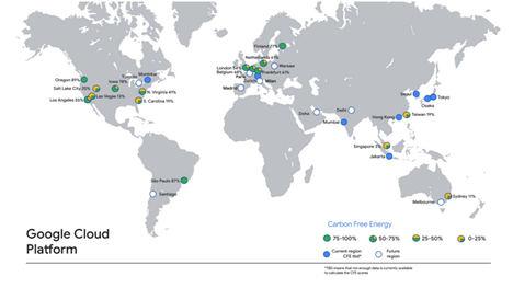 Google Cloud comparte el porcentaje de energía limpia que utilizan sus regiones de datos