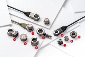 NUEVOS productos Fischer LP360TM. Conector calibre 14 (7 contactos de señal y alimentación): receptáculo cableado (1) y conexión de panel (2). Dispositivos activos: adaptador USB 2.0 (3) LED (4) y Rugged Flash Drive (5). Conector calibre 08 (4 contactos de señal y alimentación) en plástico (compuesto de gama alta basado en PEEK) con conexión cableada (6) receptáculo de panel (7) en metal con receptáculo de panel (8) y conexión de panel (9).