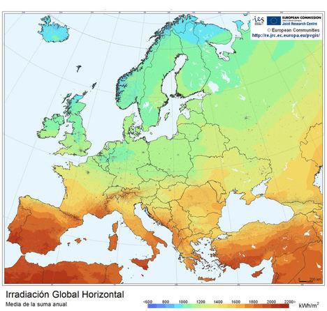 Irradiación solar en Europa.