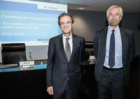"""Peter Praet, miembro del Comité Ejecutivo del BCE, inaugura un nuevo curso de la cátedra """"la Caixa"""" Economía y Sociedad"""