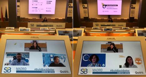 A la izda.: Alberto Gutiérrez de Aquaservice y Bert Van Vos de Mud Jeans. A la dcha.: Marianella Cervi de VF Corporation y Elisabetta Baronio de Timberland Europe.