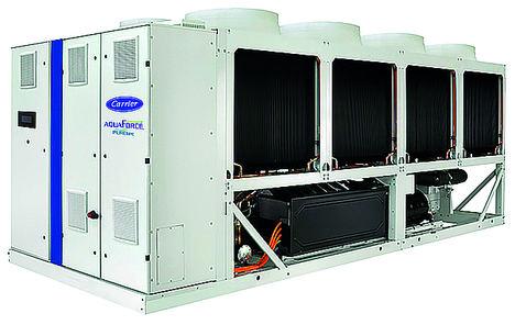 La enfriadora aire-agua con tecnología de compresión de Tornillo de velocidad variable y válvula Vi más eficiente de Carrier está ahora disponible en versión HFO, es la nueva gama 30KAVP-ZE, AquaForce Vision Puretec