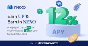 Las nuevas funciones Earn UP y Earn in NEXO de Nexo ofrecen tasas de interés de hasta 12% APY a los clientes de la plataforma.