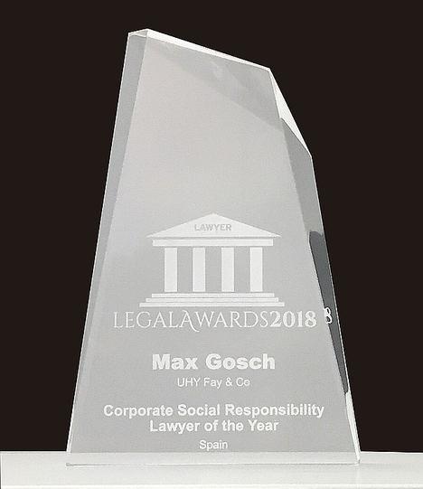 Max Gosch, CEO de UHY Fay & Co Madrid, es galardonado con un Legal Awards
