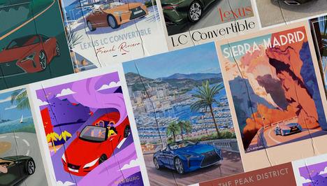 Lexus presenta el LC Cabrio como inspiración de pósteres de viajes europeos