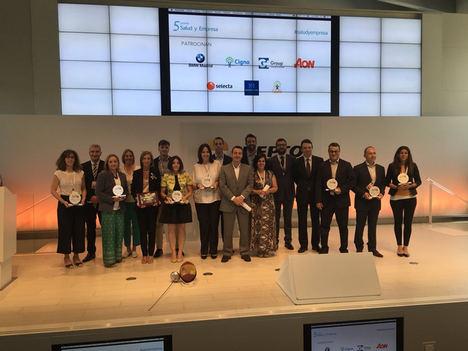 Los representantes de las empresas ganadoras en los 5º Premios Salud y Empresa RRHH Digital.