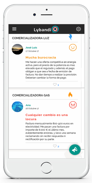 Lybandi, la app para denunciar lo malo y ensalzar lo bueno de las compañías de luz, gas y telecomunicaciones