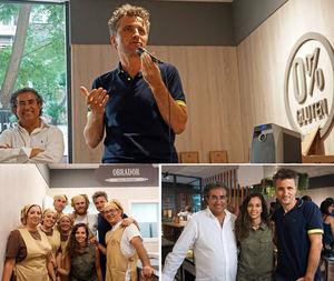 Francesc y Anna Altarriba con Xevi Verdaguer. Equipo de profesionales del obrador y sala.