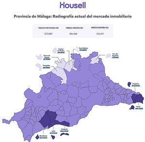 Más de 400.000 euros de diferencia entre el municipio más caro y el más barato de la provincia de Málaga