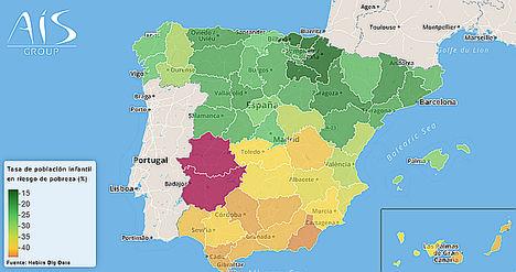 El mapa de la pobreza infantil en Andalucía