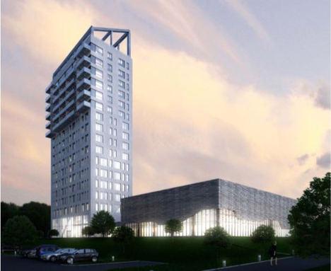 Representación 3D, rascacielos, Mjøstårnet.