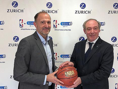 Chus Bueno, Head of NBA Spain & Basketball Operations NBA EME junto a Vicente Cancio, CEO de Grupo Zurich en España