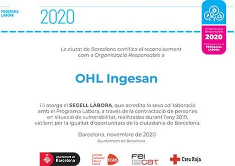 OHL Servicios-Ingesan, reconocida como Empresa Responsable por su compromiso con la inserción laboral de colectivos desfavorecidos